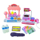Buy Cheap Children Pretend Play Toy Set Ice Cream Shop Cash Register With Realistic Actions And Sounds Gift For Kids Color Pink Intl
