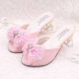 Buy Children S Slippers Summer Girls High Heeled Slippers Fashion Pearl G*Rl Baby Princess Sandals Korean Style Student Casual On Singapore