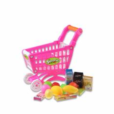 Best Coolplay Cp1302 Kids Small Shopping Cart Supermarket Handcart Children Toy Storage Mini Shopping Cart With Full Grocery Food Toy Intl