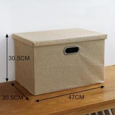 Retail Cotton Linen Storage Basket Foldable Cosmetic Storage Bin Box Household Sundries Sorting Organizer L 47 30 5 30 5Cm Intl