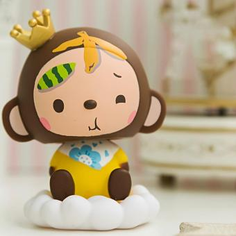 Cute Crown Monkey Ornaments Bobblehead Creative Action Figure Car Decoration Kids Toys Style:Momo fruit Knock Out Deal!! Toys & Games > Action Figures ...