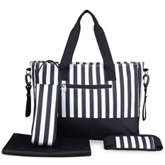 Sales Price Diaper Bag Nappy Changing Bag Mummy Maternity Bag For Stylish Moms Black White Premium Cotton Canvas Tote Bag 8 Pockets Including Insulated Bottle Holders Intl