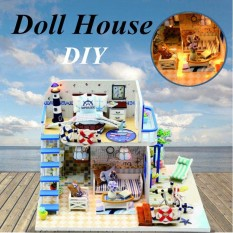Diy Doll House Miniature Led Outdoor Beach Loft Apartments Furniture Blue House Intl Coupon Code