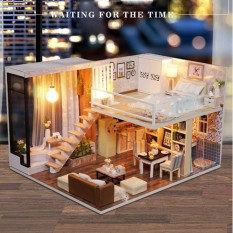Buy Cheap Diy Doll House Toy Wooden Miniature Furniture Led Light Gift Waiting Time Kids Intl