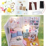 Review Diy Wood Dollhouse Miniature With Led Furniture Cover Doll House Room Model Intl Oem