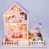 Review Diy Wooden Dolls House Miniature Kit W Light Purple Villa Export Hong Kong Sar China