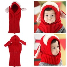 81892c9c644f12 Dog Style Comfortable Winter Baby Hat and Scarf Joint Knitted Caps for  Infant Boys Girls (