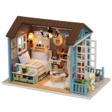Sale Doll Miniature Wooden House Studio Kit With Led Light Furniture Diy Handcraft Toy Blue Intl Not Specified Cheap