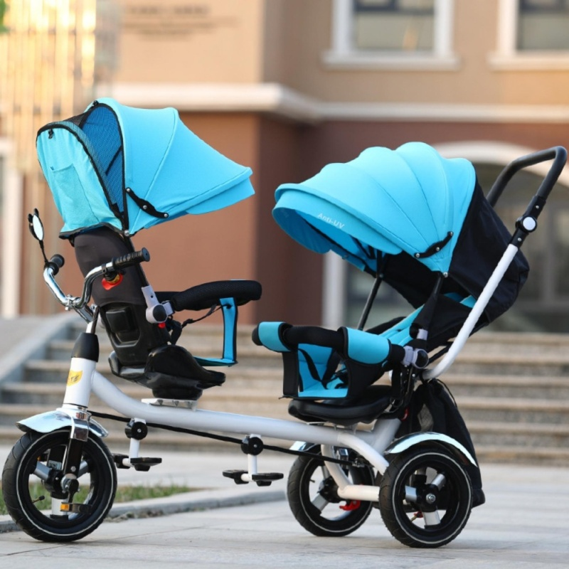 Double Stroller Child Bike Stroller Double Seats Baby Tricycle for Twins Bike Folding Three Wheels Twins Tricycle Pushchairs (Blue) - intl Singapore