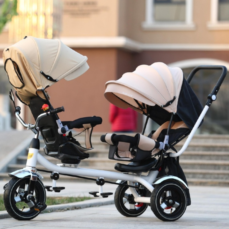Double Stroller Child Bike Stroller Double Seats Baby Tricycle for Twins Bike Folding Three Wheels Twins Tricycle Pushchairs (Khaki) - intl Singapore