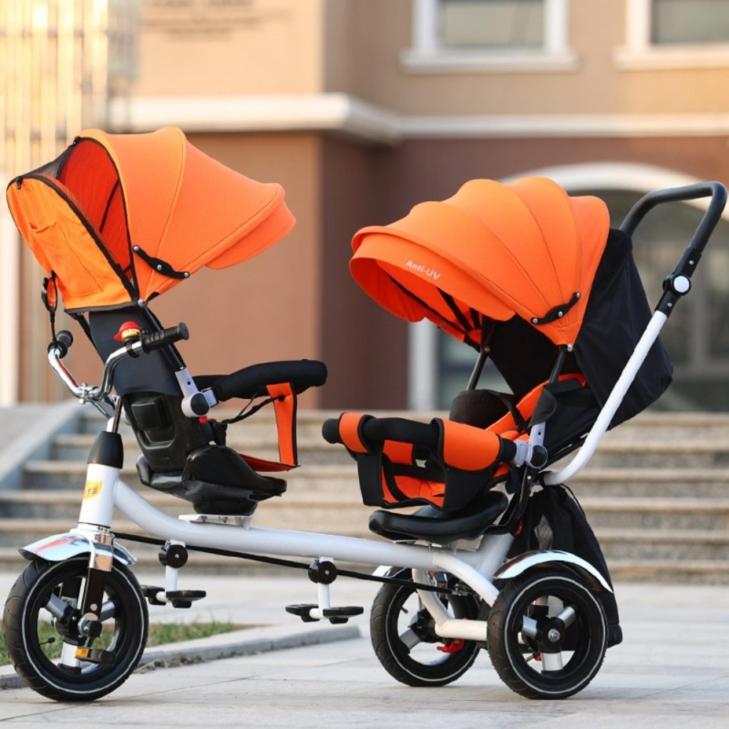 Double Stroller Child Bike Stroller Double Seats Baby Tricycle for Twins Bike Folding Three Wheels Twins Tricycle Pushchairs (Orange) - intl Singapore
