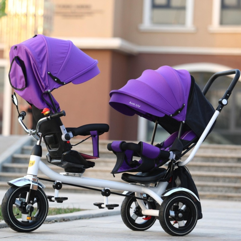 Double Stroller Child Bike Stroller Double Seats Baby Tricycle for Twins Bike Folding Three Wheels Twins Tricycle Pushchairs (Purple) - intl Singapore
