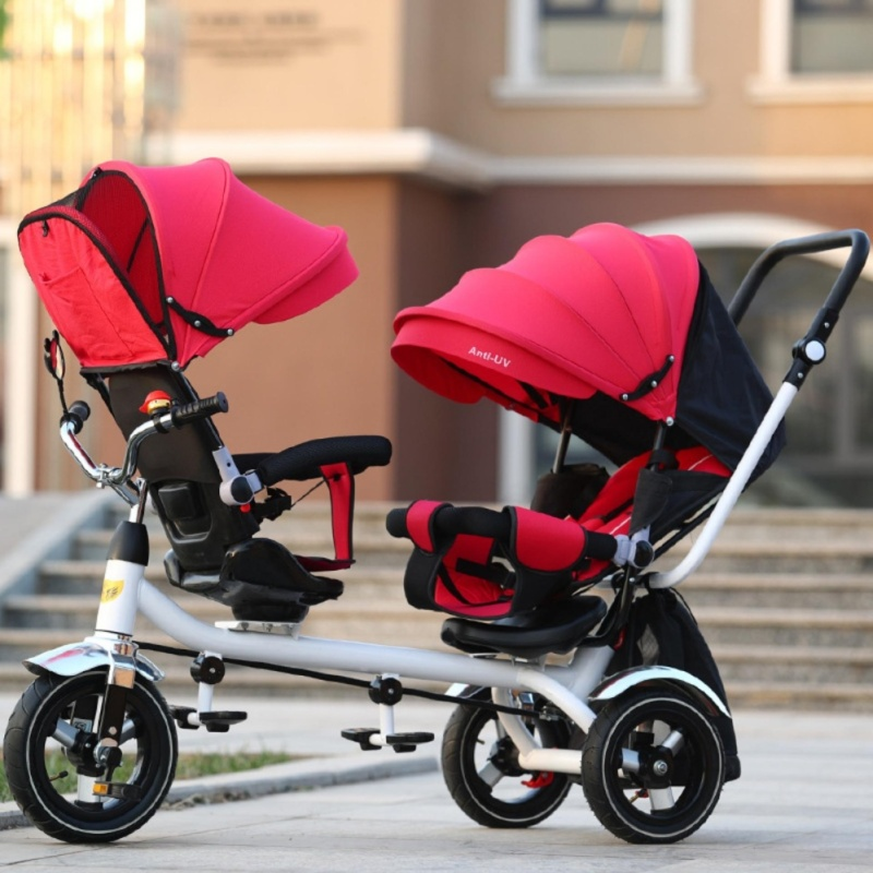 Double Stroller Child Bike Stroller Double Seats Baby Tricycle for Twins Bike Folding Three Wheels Twins Tricycle Pushchairs (Red) - intl Singapore