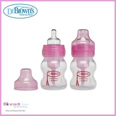 Review Dr Brown S Natural Flow Wide Neck 4Oz 120Ml Pink Clear 2 Pack Singapore