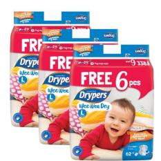 Where Can I Buy Drypers Wee Wee Dry Diaper Carton Of 3 Packets Size L 62 6Pcs X 3 Packs