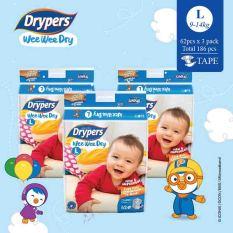 Drypers Wee Wee Dry L 62S X 3 Packs 9 14Kg 186 Pcs Box Coupon