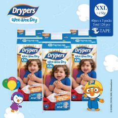 Cheapest Drypers Wee Wee Dry Xxl 40S X 3 Packs 15 Kg Above 120Pcs Box