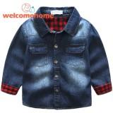 Sale Fashion Children Boys Lapel Splicing Plaid Denim Coats Jacket Kids Outwear Blue 4 5 Yrs Intl Online On China