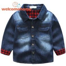 Purchase Fashion Children Boys Lapel Splicing Plaid Denim Coats Jacket Kids Outwear Blue 4 5 Yrs Intl