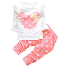 205500d5bde06 Girls Clothing Sets Children Bow Tops T Shirt Leggings Pants (Pink) - intl