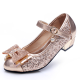 Best Spring New Style Little G*Rl Princess High Heels Girls Leather Shoes
