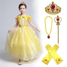 Review Girls Yellow Princess Belle Dress Up Set Beauty And The Beast Costume Dress And 4 Sets For 3 9 Years Intl Unbrand On China