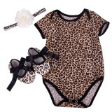 Gracefulvara 3Pcs Newborn Infant Baby Girls Leopard Romper Bodysuit Headband Shoes Sets Export Cheap