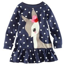Sale Gracefulvara Toddler Baby Girls Kids Autumn Clothes Long Sleeve Party Deer Tops Dot T Shirt Dress Gracefulvara On China