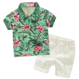 New H118 Summer Cotton Baby Boy S Kids Childs Clothes 2 Pcs 1 Set T Shirt Shorts Age 1 5 Green
