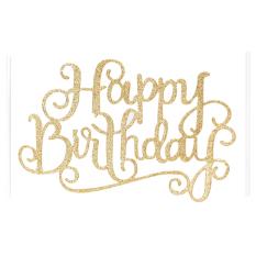 Happy Birthday Cake Topper Crystal Rhinestone Diamond Sparkle Party Silver Decor Gold - Intl By Buy Tra