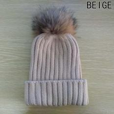 87df563a1 Hequ Baby Knitted Wool Hat Caps for Girls Toddler Crochet Beanies Fur Ball  Cute Baby Boys Hats Family Cap Beige - intl