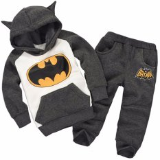 Hequ New Autumn Winter Boy Clothes Set Thermal Batman Children Tracksuit Kids Clothing Suit Boys And Girls Hoodie And Coat Trousers - Intl By Hequ Trading.