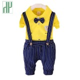 Hh 1 4Years Kids Clothing Set 2Pcs Boys Clothes Cotton Shirt Stripe Pants Formal Children Clothing Girls Baby Wedding Suits Intl For Sale
