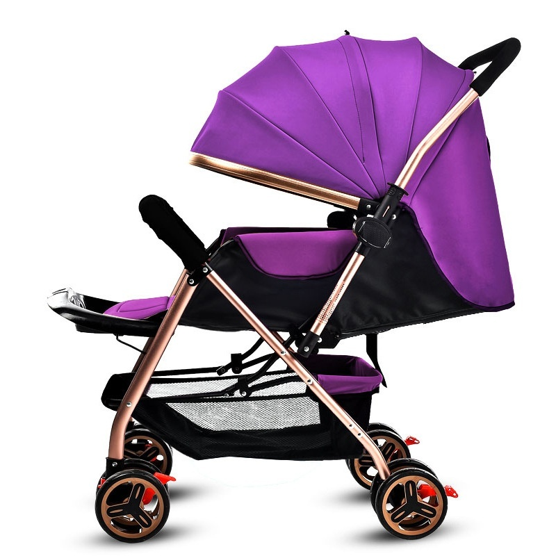 High quality / ultra light / four wheel / baby carriage, portable / folding / two-way implementation / can lie / baby carriage (purple) - intl Singapore