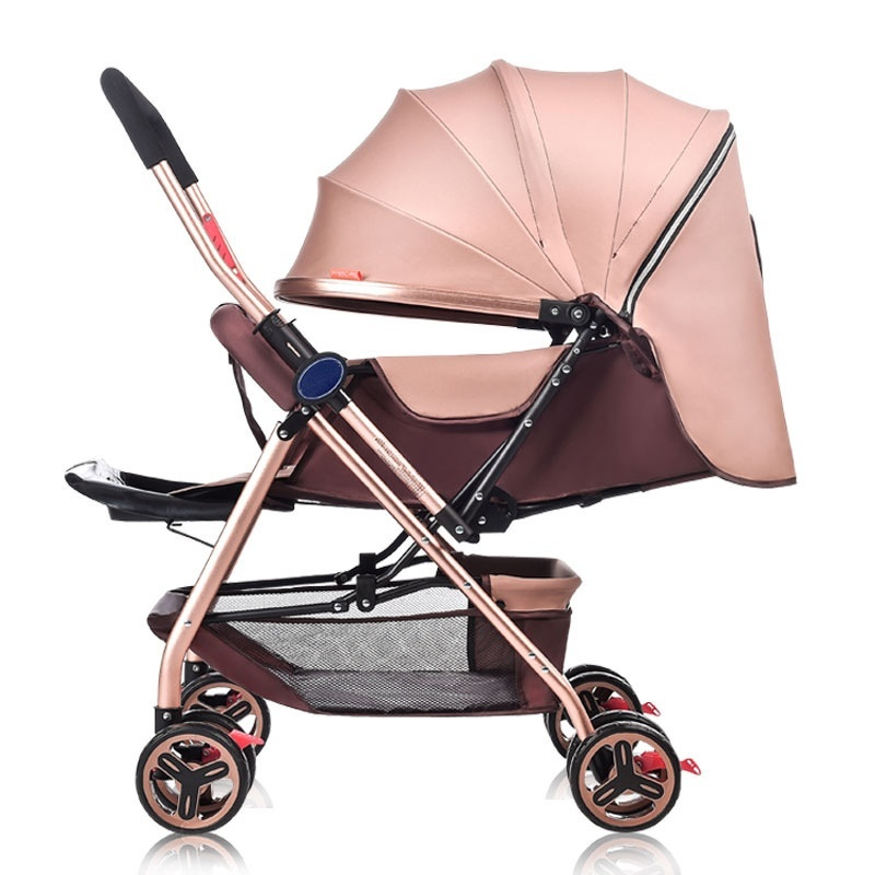 High quality / ultra light / four wheel / baby carriage, portable / folding / two-way implementation / can sit / baby carriage (khaki) - intl Singapore