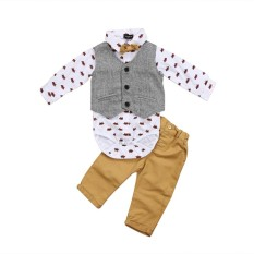 Sale Hot Newborn Baby Boys Formal Suit Waistcoat Pants Tuxedo Casual Outfits Set Intl Oem Original