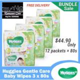 Buy Huggies Gentle Care Baby Wipes 12 X 80 Sheets Cheap On Singapore