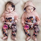 Cheaper Infant Newborn Baby Girls Clothes Hooded Tops T Shirt Floral Leggings Outfit Set Intl