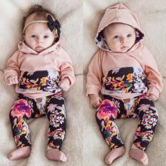 Infant Newborn Baby Girls Clothes Hooded Tops T Shirt Floral Leggings Outfit Set Intl On Line