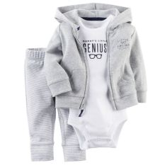 Infant Newborn Cotton Cardigan Coat Romper Pant Set Baby Boy Outfit Clothes Grey Romper Intl Discount Code