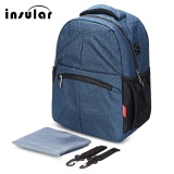 Insular Mummy Maternity Backpack Baby Nappy Diaper Bag With Trailer Strap Deep Blue Intl Promo Code