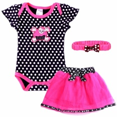How To Get Js 6 18Month Infant Baby Girls Summer Bodysuit Polka Dots Romper Dress Skirt Head Band 3Pcs Set Clothing Set P003 Black Intl