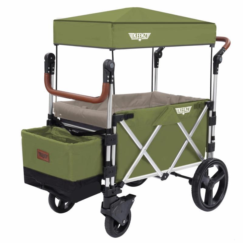 Keenz 7S Premium Deluxe Foldable Wagon-Stroller (Cedar Green / Earl Grey) - Designed and Engineered in Korea Singapore