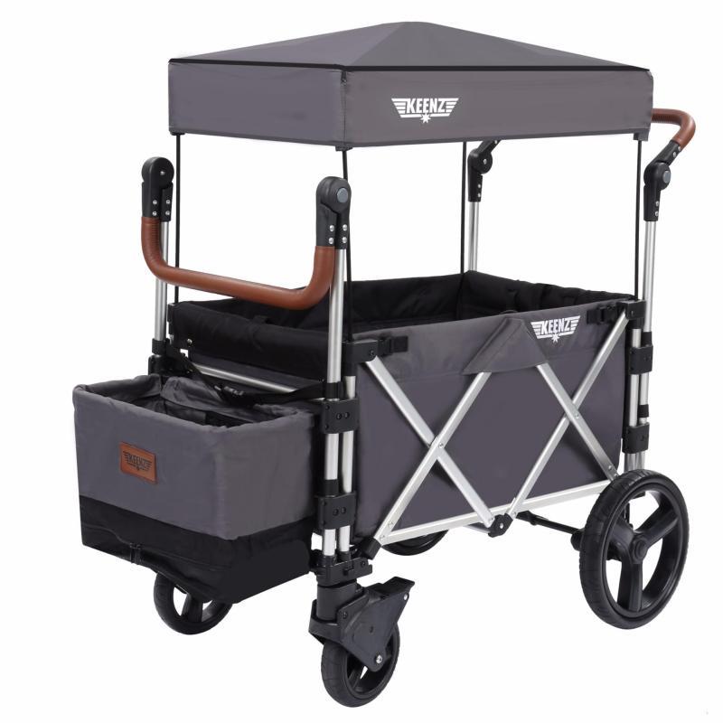 Keenz 7S Premium Deluxe Foldable Wagon-Stroller (Dark Grey / Black) - Designed and Engineered in Korea Singapore