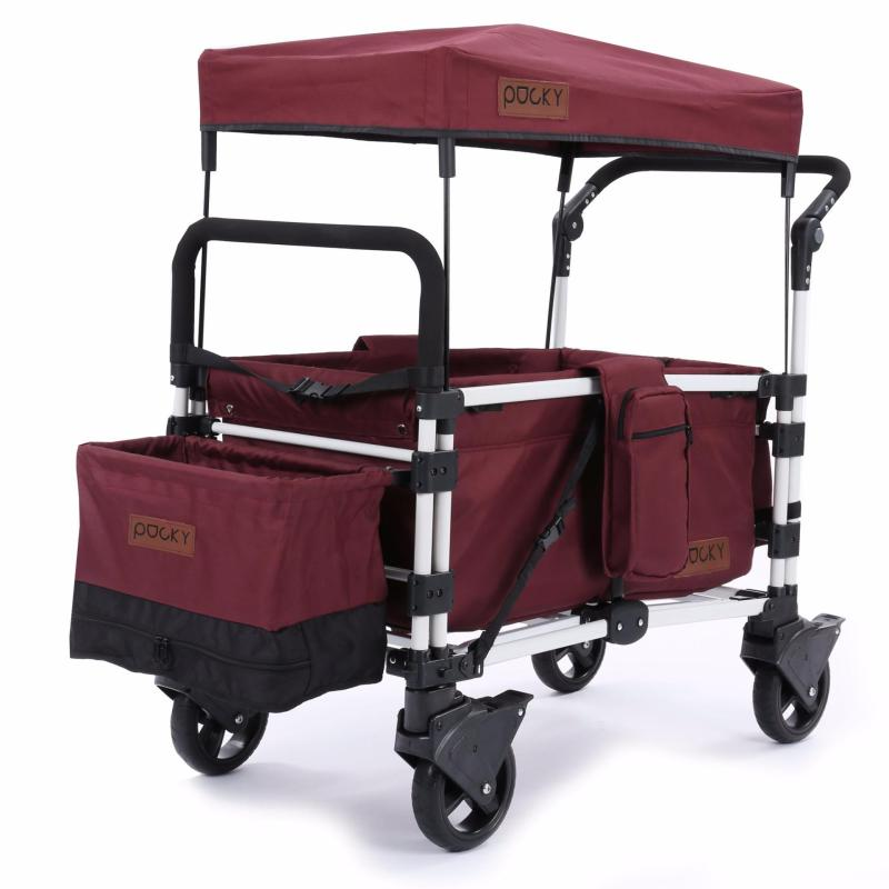 Keenz Pocky Premium Compact Foldable Wagon-Stroller (Burgundy Red) - Designed and Engineered in Korea Singapore