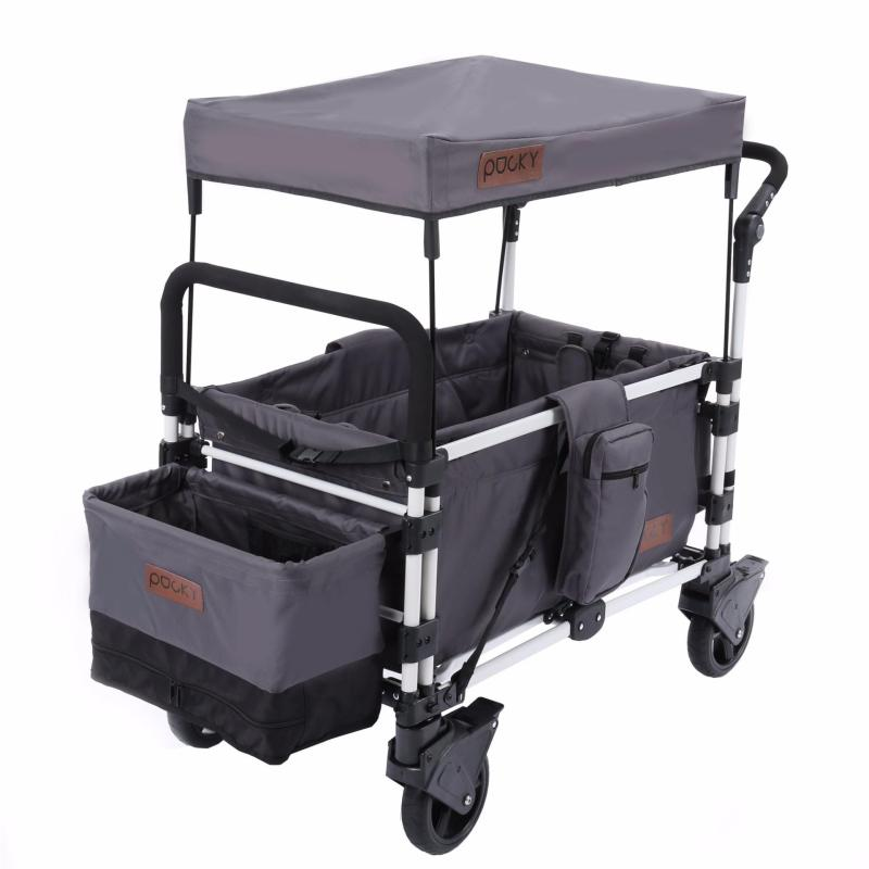 Keenz Pocky Premium Compact Foldable Wagon-Stroller (Dark Grey) - Designed and Engineered in Korea Singapore