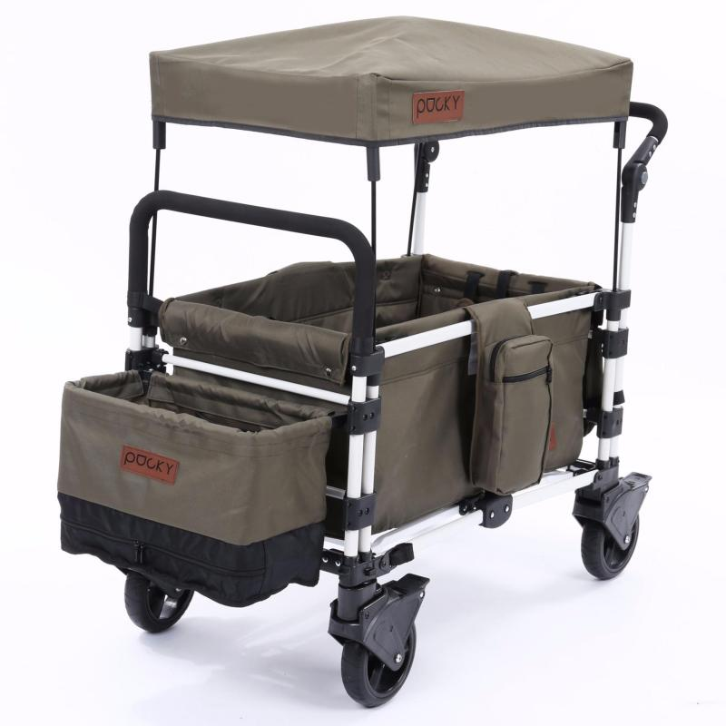 Keenz Pocky Premium Compact Foldable Wagon-Stroller (Olive Khaki) - Designed and Engineered in Korea Singapore
