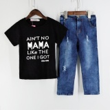 Cheap Kid Baby Boy Clothes T Shirt Tops Denim Long Pants Outfits Set Black Tshirt And Jeans Sets Intl