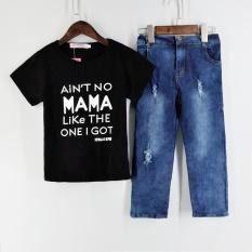 d0d4d81f2784 Kid Baby Boy Clothes T shirt Tops Denim Long Pants Outfits Set Black Tshirt  And Jeans