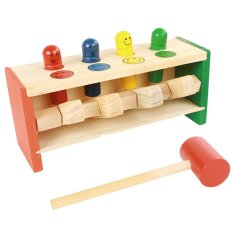 Kid Baby Toddler Educational Wooden Toy Colorful Smile Face Pegs Game Hammering Pounding Bench Education Toy With Mallet By Vococal Shop.